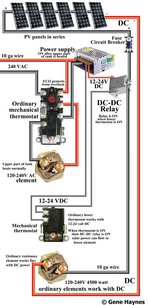 DC water heater wiring