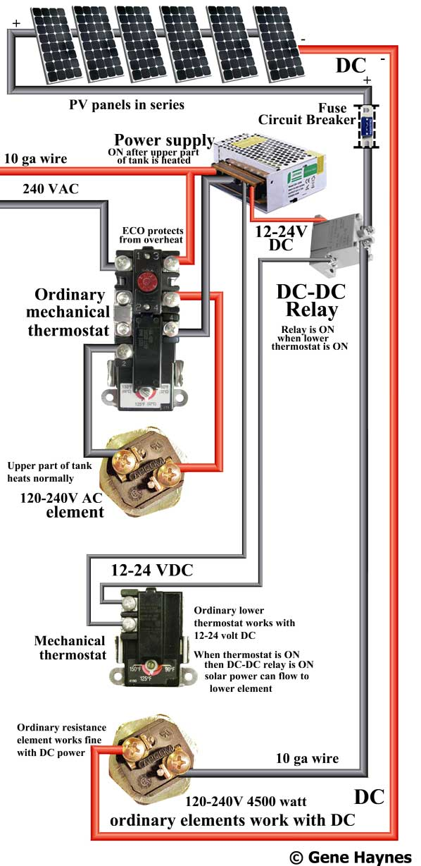 upper part of tank must be heated by 240 volts before solar can heat  lower part of tank  non-simultaneous dc water heater  this wiring diagram  does not