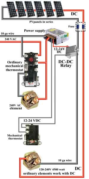 how to wire water heater thermostat simultaneous dc water heater