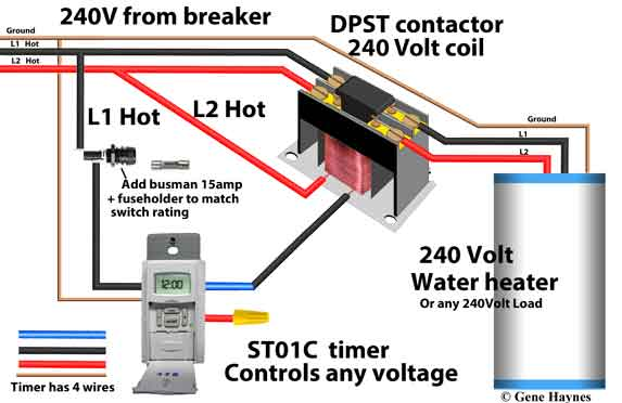 ST01C timer controls 240Volt water heater