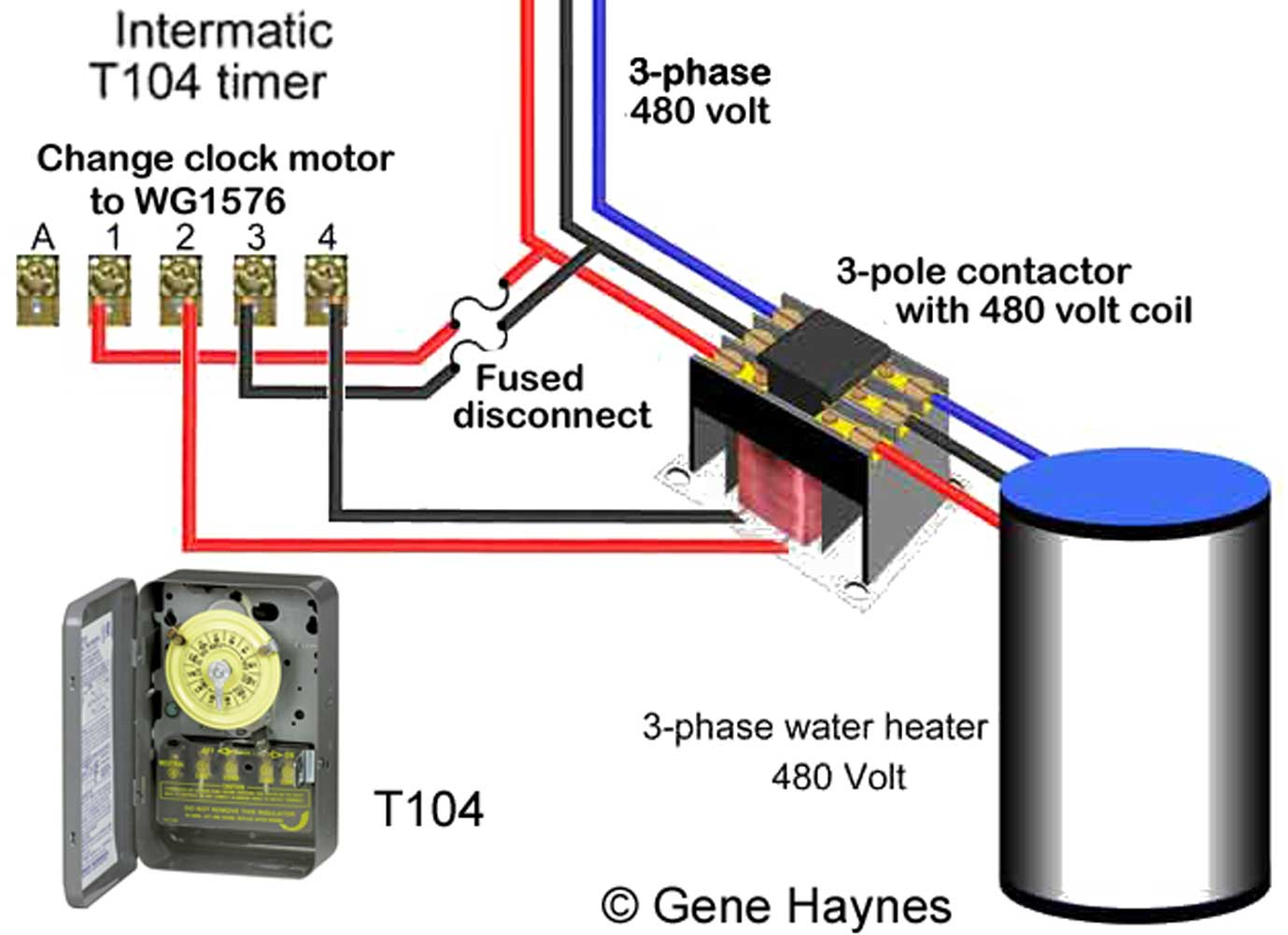 How To Wire Intermatic T104 And T103 T101 Timers Wiring Diagram Of Electronic Clock 480volt Timer Control 480 V 3 Phase Using Change 240v Wg1573 Motor Wg1576
