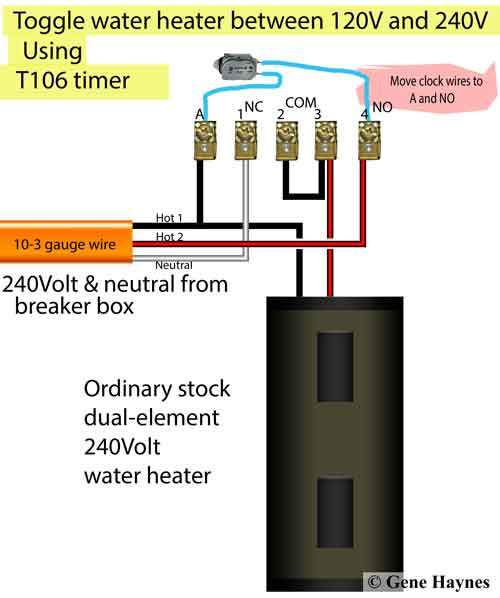 how to wire water heater for 120 volts how to wire t106 timer