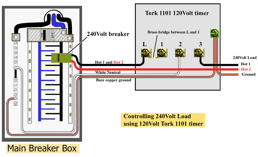 Tork 1101 wired to control 240 ge timers and manuals Porch Light Wiring Diagrams at crackthecode.co