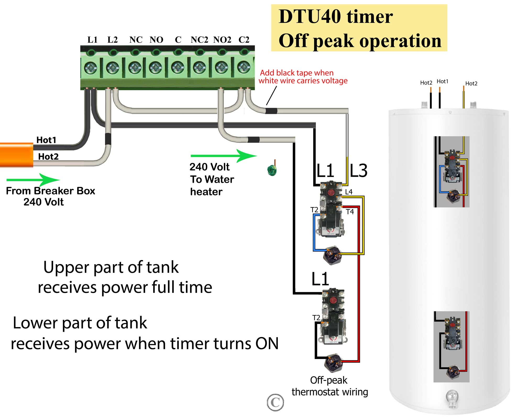 Tork DTU 240V circuit off peak how to wire water heater thermostat wiring diagram for water heater at crackthecode.co