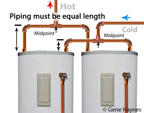 how to install two water heaters Tandem Water Heater Piping Diagram piping on the hot and cold must be equal for the heaters to draw down equal ideally you want 50% from each