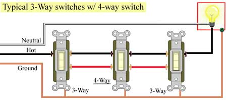 Typical 3 Way switches 450 how to wire cooper 277 pilot light switch 4 way switch wiring diagrams at bayanpartner.co