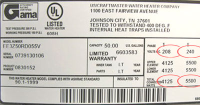 water heater label