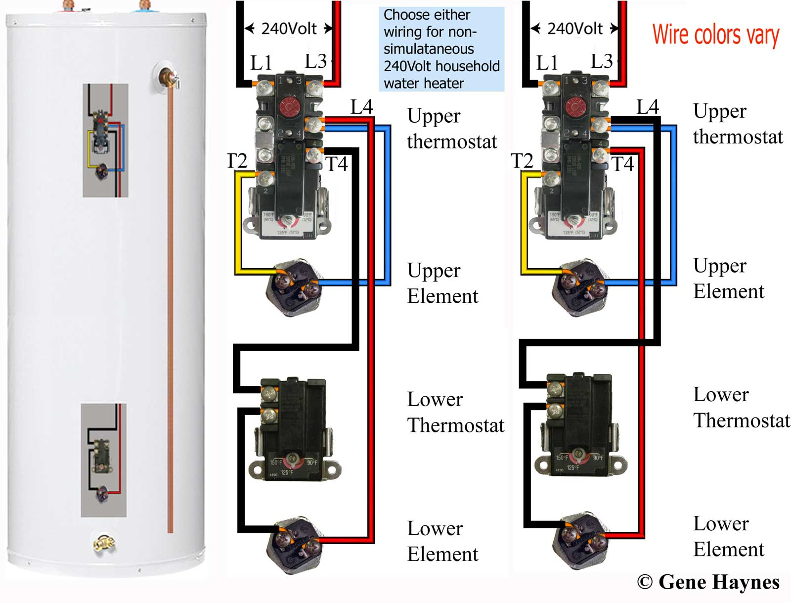 See larger, Residential dual-element water heater. Both elements are never  'on' at same time unless tank is wired for other purpose (see owners manual ).