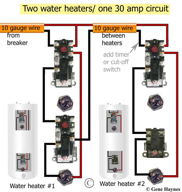 how to install two water heaterslarger image, 1 ordinary non simultaneous and 1 redundant water heater on one 30 amp wire and breaker applies to electric water heaters