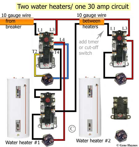 how to install two water heaters rh waterheatertimer org water heating element wiring water heater element wiring diagram