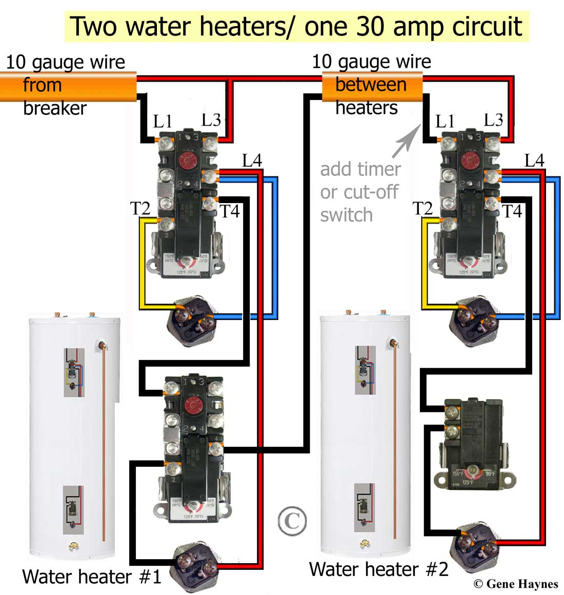 Larger image, Non-simultaneous thermostats control 2 water heaters.  Simultaneous wiring will heat top of tank first. Redundant will turn ON as  soon as cold ...