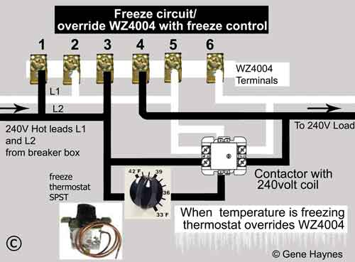 Wire freeze control to wz4004 contactor