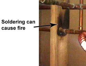 fire risk from soldered pipes
