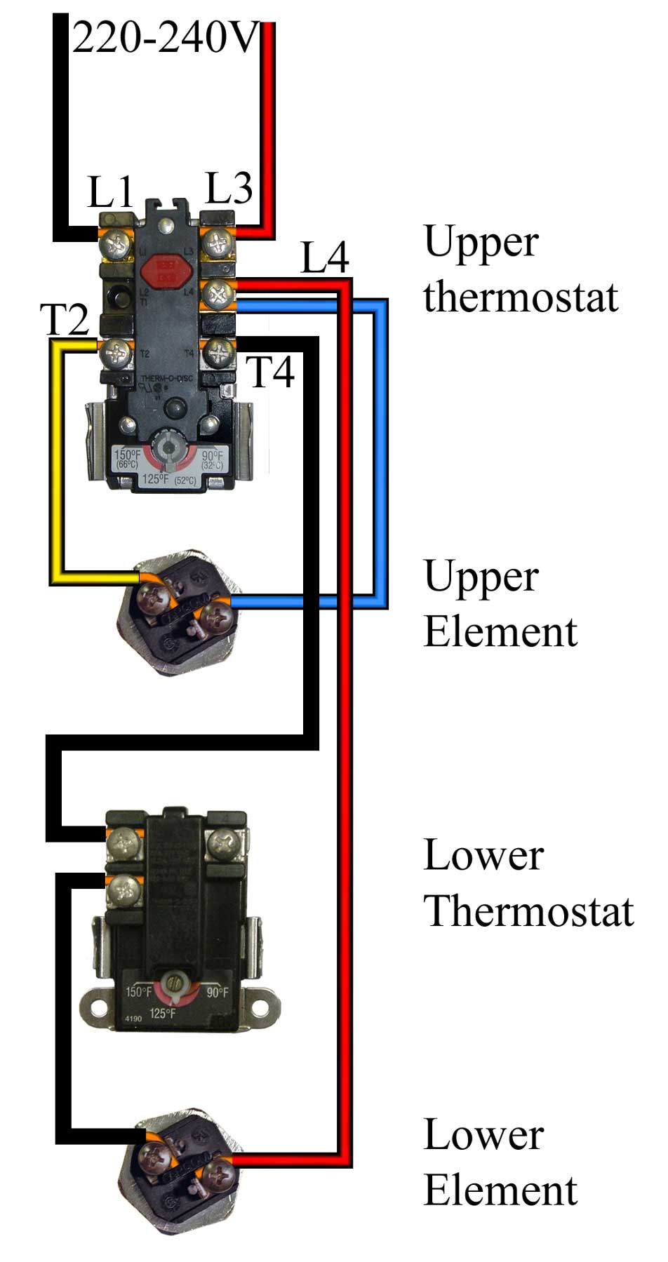 how to wire water heater for 120 volts rh waterheatertimer org wiring upper thermostat on water heater wiring water heater thermostat diagram