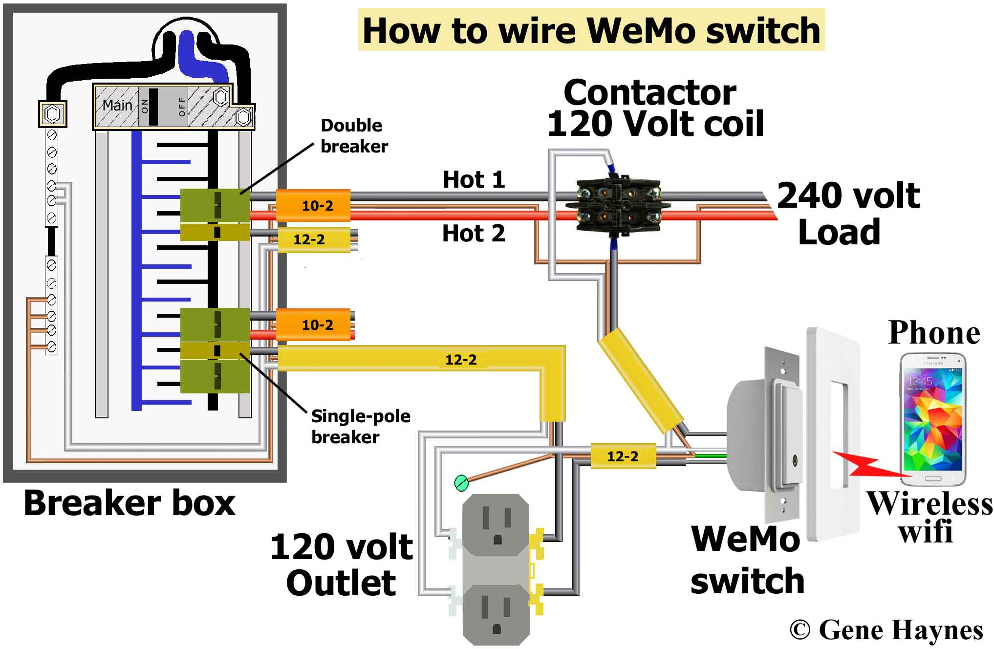 Do not use stranded wire under screw plates. Buy from my affiliate links:  WeMo switch · Contactor with 120 volt coil