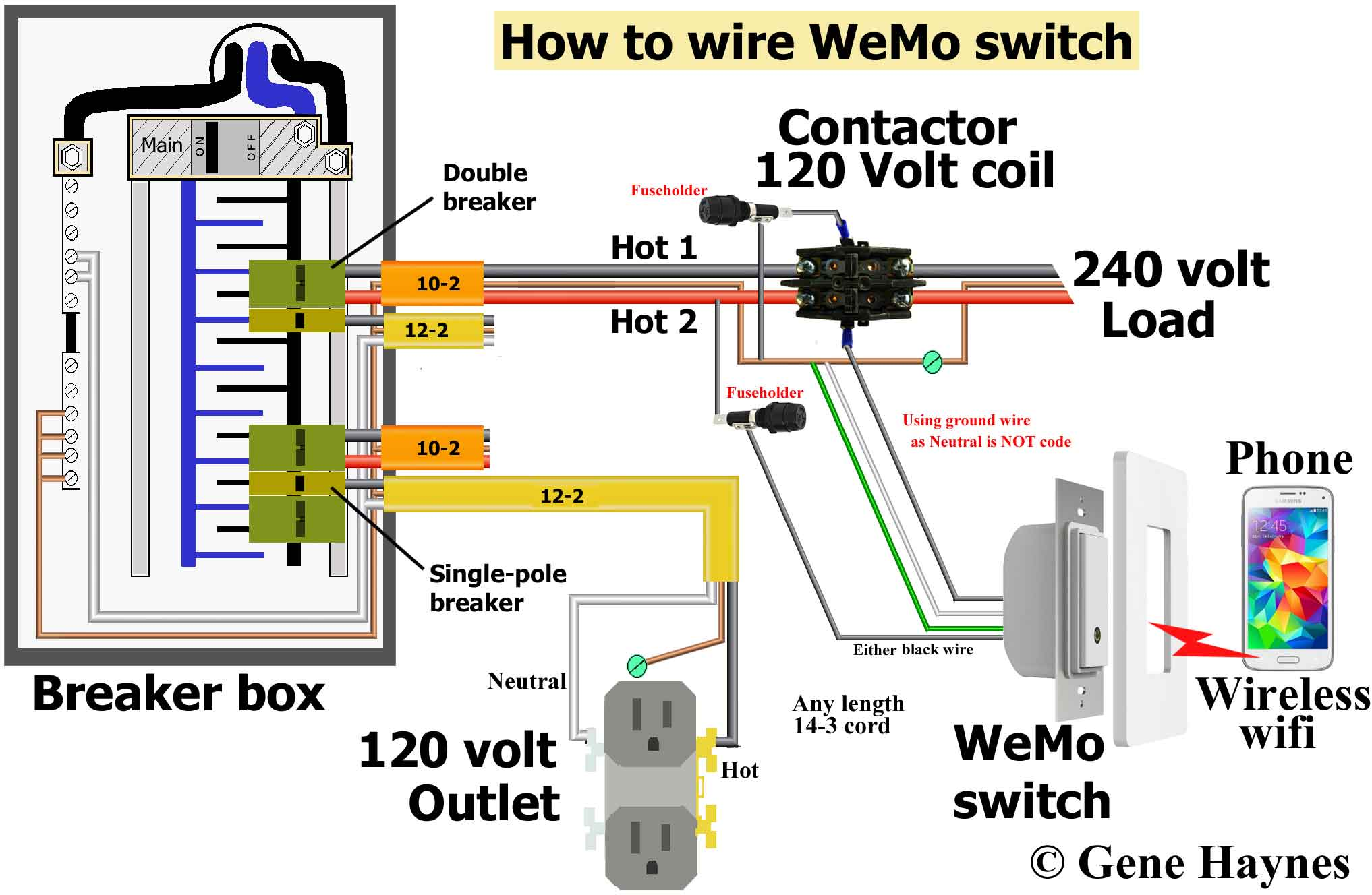 Use wiring diagram shown above. Override WeMo switch