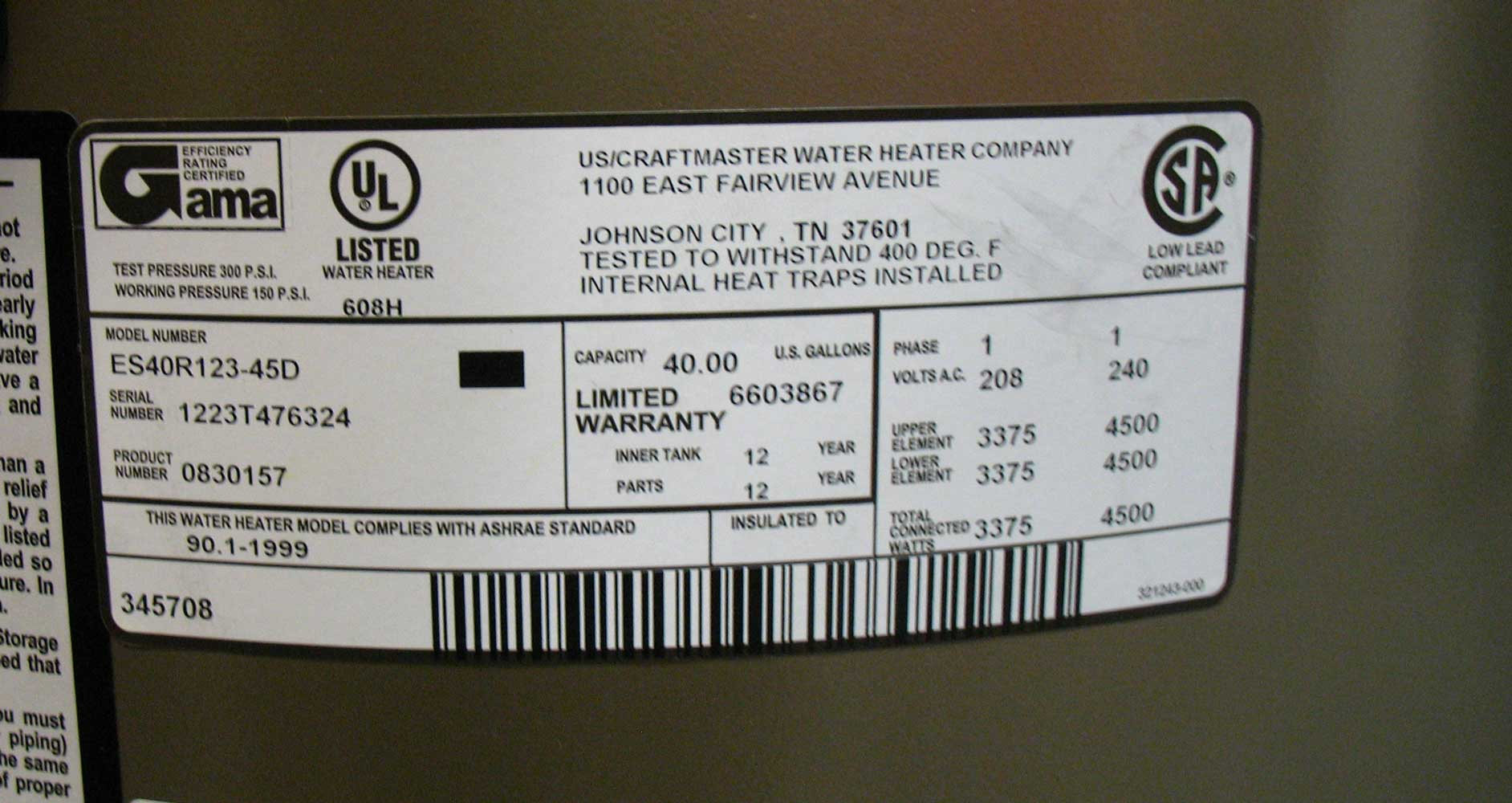 Volts amps watts see larger image different water heater label 4500 watts 240volts label shows 4500 watt elements 240volt total connected 4500 watts which means both geenschuldenfo Choice Image