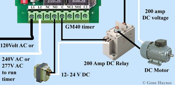 gm 40 timer is not rated for dc voltage, but can switch 24 dc volt line   wire gm40 timer to control dc motor: use same diagram to control any  single-phase