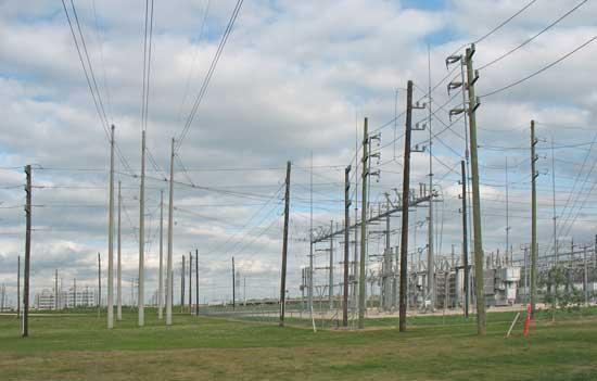 Wires arrive at distribution substation