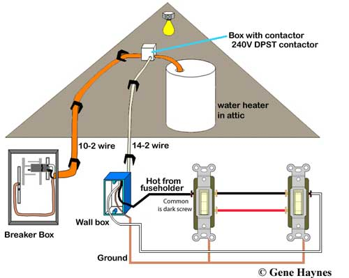 How to wire water heater with two switches  Wire Way Switch Wiring Diagram on 2 lights one switch diagram, 4 wire switch wiring diagram, three switches one light diagram, 2 wire pull, 2 battery switch wiring diagram, switch connection diagram, 3 wire switch wiring diagram, 2 switches 1 light diagram, 2-way light switch diagram, 5 wire switch wiring diagram, two-way switch diagram,