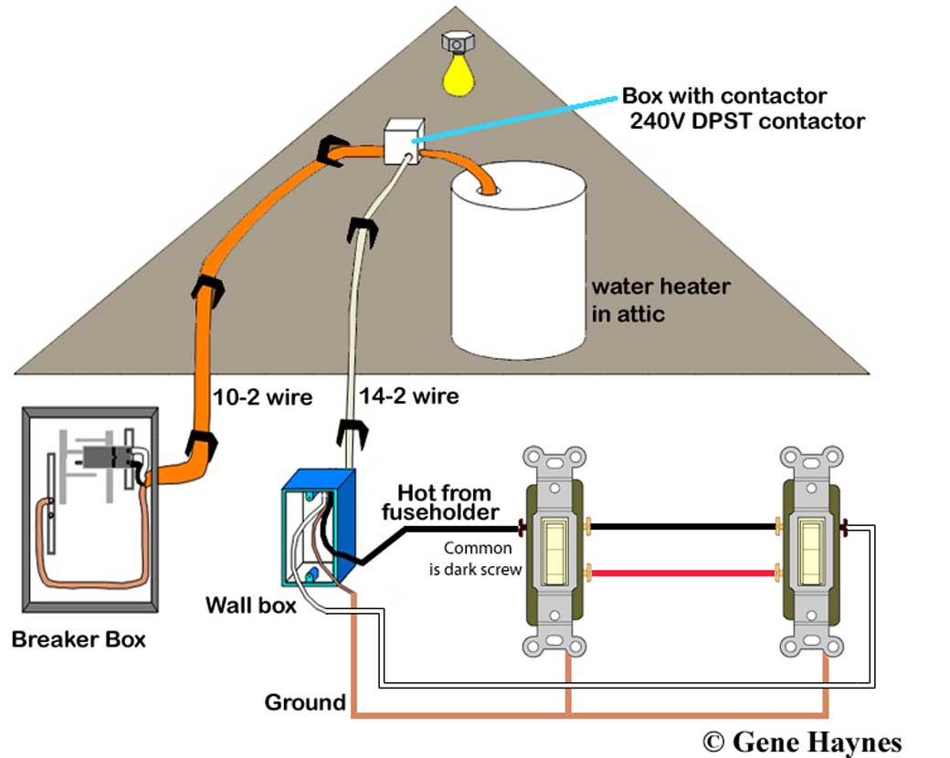 how to wire water heater switches timers see 3 way switch circuit