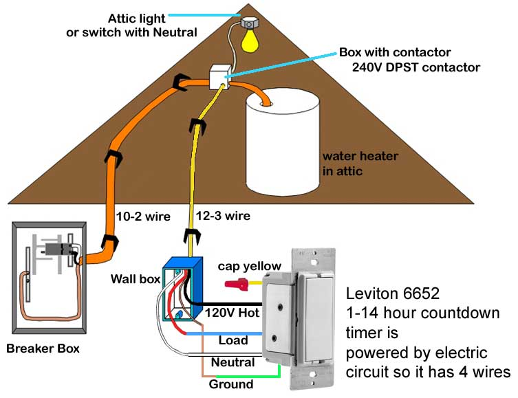 How to wire water heater with switches timers – Leviton Timer Switch Wiring Diagram