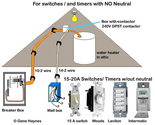 Control water heater using switch on