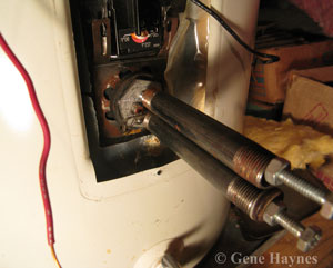 how to remove a stuck water heater element