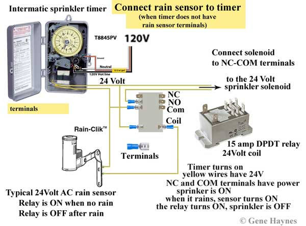connect relay to timer and rain sensor 6 how to wire intermatic sprinkler and irrigation timers and manuals intermatic t8845pv wiring diagram at edmiracle.co