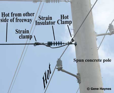 Hot wires connect on pole