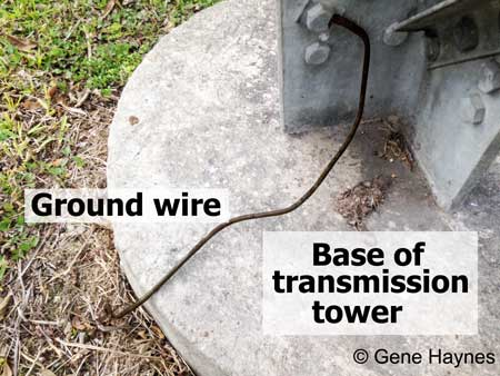 Transmission tower ground wire