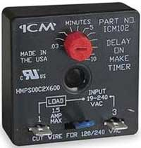 icm 102 on-delay timer 0 hp must use contactor 24/ 120-240 volt ac  03-10  minutes  buy: icm 102 � dayton off delay timers