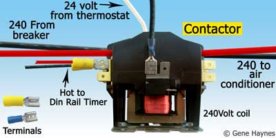 open wiring compartment on air conditioner  use terminals to connect the  smaller wires to line side of contactor