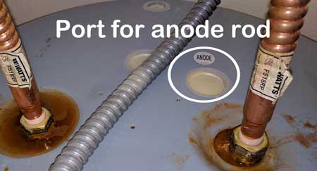 anode rod location on typical electric water heater