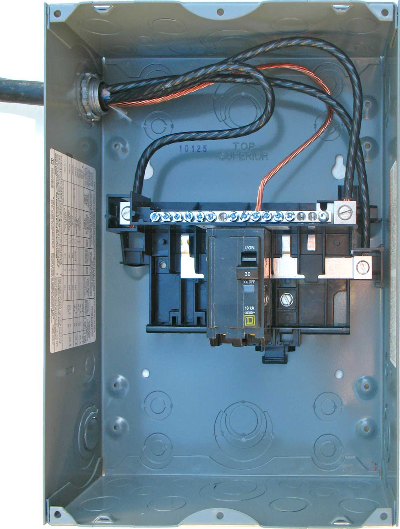 sub panel 2 8 circuit breakers 100 Amp Service Wire Size at webbmarketing.co