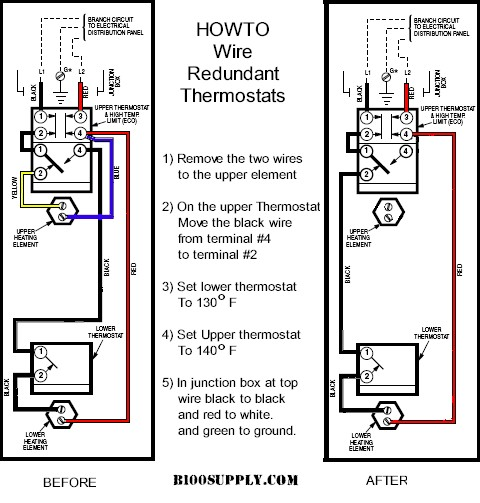 How to wire water heater thermostats remove blue and yellow wires from upper thermostat step2 move black wire from terminal t4 to terminal t2 tighten screws very tight against copper wire swarovskicordoba Gallery